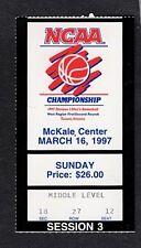 1997  NCAA BASKETBALL  GAME USED TICKET STUB-WEST REGIONAL-TUCSON,AZ.