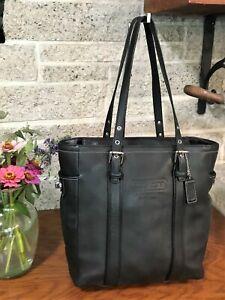 COACH CLASSIC GALLERY LUNCH TOTE BLACK LEATHER BAG 8E92 HANDBAG PURSE SHOULDER
