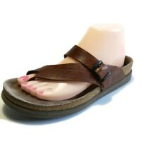 MEPHISTO Helen Brown Leather Buckle Slide Thong Comfort Toe Loop Sandals Size 40
