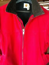 Mens LG CARHARTT Bomber Duck Canvas Jacket Red, Corduroy Collar, Quilted Liner