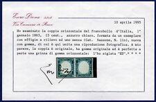 1863 Regno coppia 15c + 15 c (11n) senza testa con CERTIFICATO