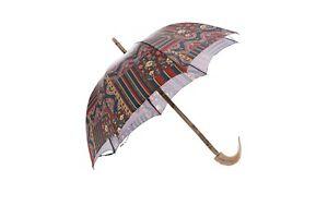 MARIO TALARICO NAPOLI Paisley Canopy Handmade Umbrella Real Muflon Horn Handle