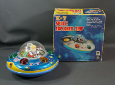 1960's Vintage Space Tin Toy Masudaya Japan X-7 Flying Saucer Explorer Ship Box