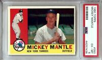 Mickey Mantle 1960 Topps Vintage Baseball Card Graded PSA 6 EX-MT Yankees #350