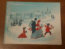 Vintage Embossed Christmas card 1946 midcentury Family Snowy Trail USA