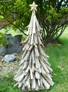 Driftwood Christmas Tree Statue 50 cm Indoor / Outdoor Hand Made Decoration