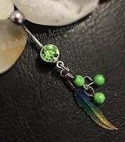 14g Cz Dangle Green Bead Rainbow Feather Belly Button Navel Ring Piercing