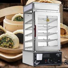 5 Layer Commercial Countertop Bun Bread Warmer Steamer Hot Dog Cooker 1200w 110v