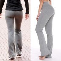 USA Womens Flare Wide Leggings Yoga Pants Cotton Stretch Full Length S-XL X142