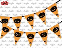 Pumpkins Halloween Themed Bunting Banner 15 flags decoration by PARTY DECOR