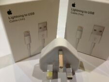  Genuine 5W iPhone X/XR/Max/11Pro USB Charger UK Plug & 2x Lightning Data Cable