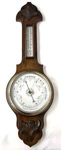 Antique Carved Oak Aneroid Banjo Barometer & Thermometer : Silvered Dials c76