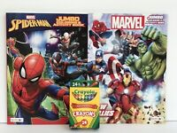 2 Kids Marvel Avengers & Spiderman Jumbo Coloring/Activity Books Mazes + Crayons