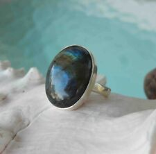 Handmade Labradorite Ring Sterling Silver Sz. 8.5