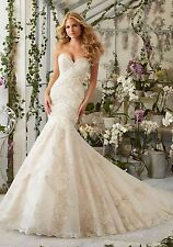 MORI LEE BRIDAL GOWN #2801 LT. GOLD TULLE WEDDING DRESS TRUMPET COUTURE SIZE 14