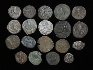 Lot of 19 Assorted Byzantine coins, mostly follis, lots of variety