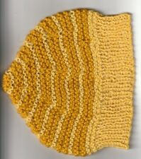 Beenie hat-  yellow & ORANGE  -Handknitted - size to fit up to  8 years old NEW