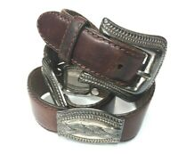 Fossil Womens Small Concho Belt Brown Leather Western Boho BT 770422201