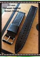 Müller&Son Genuine Horween Horse Leather 20 mm Brown Watch Strap, 4mm Thick!