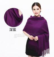 Fashion Women's Dark Purple Warm 100% Cashmere Solid Pashmina Shawl Wrap Scarf