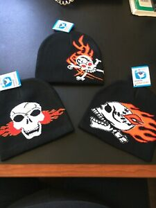 FLAMING SKULL BEANIE HAT LOT OF 3 NEW DIFFERENT UNIQUE DESIGNS NEW YOU GET 3!