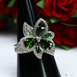 NATURAL GREEN CHROME DIOPSIDE EMERALD & CZ RING 925 STERLING SILVER SZ 7