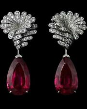 35ct Long Earring Solid 925 Sterling Silver Red Pear Women Wedding Jewelry