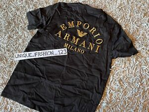 EMPORIO ARMANI MILANO TEE BLACK GOLD EMBROIDERED LOGO T-SHIRT MEDIUM M