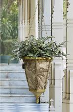 ELEGANT Gold HANGING BASKET Decorative Outdoor Fabric Long Planter Pot w/ Liner