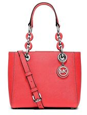 NWT Michael Kors Cynthia Small North South Satchel Crossbody Coral silvertone