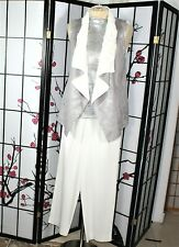 CASUAL CAREER PANTS/VEST  SUIT SEPARATE WHITE  SILVER LARGE NWOT