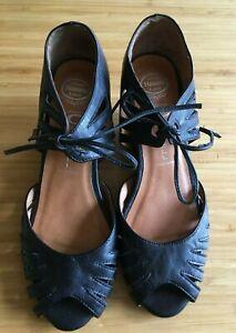 JEFFERY CAMPBELL Havana Last Black Tie Ankle Leather Peep Toe Wedge Heel Shoe 36