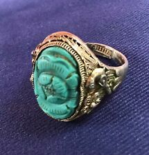 Antique Chinese filigree carved Jade & STERLING SILVER ring fine rare CHINA bird