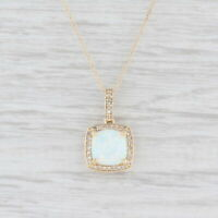 "Synthetic Opal Diamond Halo Pendant Necklace 10k Yellow Gold 18"" Rope Chain"