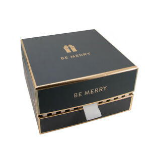 """Grey/Gold Christmas Gift Box """"Be Merry"""" WAS £8.50 NOW £4.25 - GBS49"""
