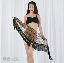 Gold Coins Tassels Sequins Triangle Hip Scarf Belt Chain Belly Dance Costumes