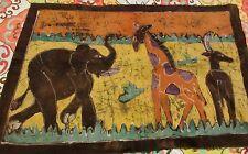 AFRICAN BATIK FABRIC PAINTING ELEPHANT ANTELOPE GIRAFFE 28 X 18