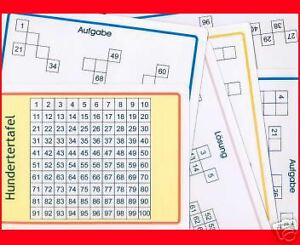 100er Tafel + Aufgabenkarten, Montessori, Lernhilfe