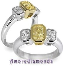 2.08 ct GIA fancy yellow natural radiant brilliant cut diamond 2 stone ring 18k