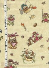 God Gave Me You Cream Character Toss Fabric by Henry Glass  1/4 yd piece