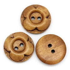 6 Smoke Yellow Wooden Buttons Flower design 20mm Sewing Free UK P&P