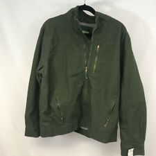 Outdoor Life Mens Jacket Green Lined Mock Neck Zip Up Pockets 100% Cotton M New