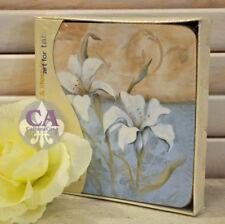 #10796 Edle Lilie Blumen Garten 4er Set Untersetzer Kork Geschenk Shabby Deko