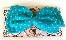 Vintage Hair Barrettes -1960's Large Fabric Turquoise Polka Dot Glamour Bow