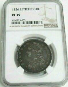 "1836 US Bust Silver Half Dollar ""LETTERED EDGE"" NGC Graded VF35"