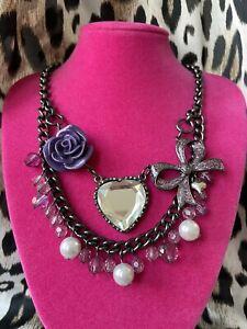 Betsey Johnson Vintage Betseyville Purple Lucite Rose Glitter Bow Heart Necklace