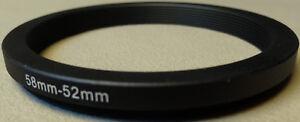 58mm to 52mm Step Down Lens Filter Ring Metal DSLR SLR Digital Camera Adapter