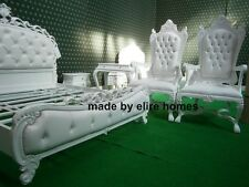 UK STOCK Very Large WHITE with WHITE faux leather White Wedding chair sofa