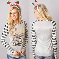 Women Christmas Striped Sweatshirt Pullover Tops Casual Long Sleeve T-Shirt Xmas
