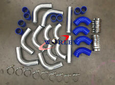 "3"" INCH 76mm Aluminum Universal Intercooler Turbo Piping pipe Kit&BLUE hose kits"